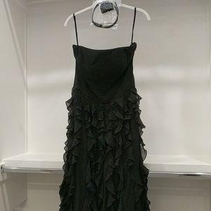White House Black Market WHBM Waterfall Gown Black